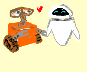 wall e and eve happy together