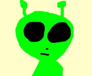 super saiyan alien with huge eyes