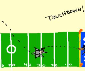 Plane lands on 30 yard line, scores