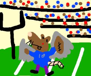 A flying ratman makes a touchdown