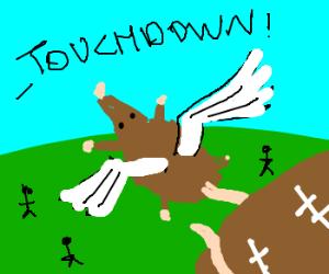 Flying rat scores winning touchdown.