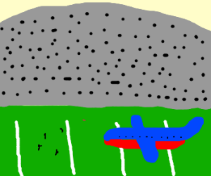 An airliner plays football
