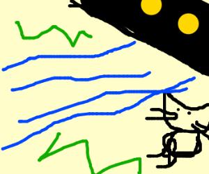 Cat fapping beside a river under bridge