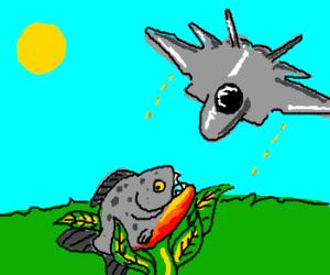 Piranha plant fights jet; way outclassed