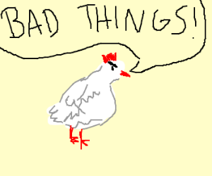 Angry chicken saying bad things