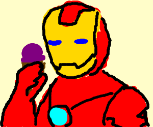 iron man eats an ice cream - Drawception