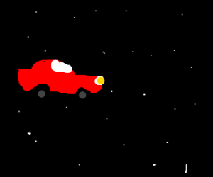driving a car on the road in space