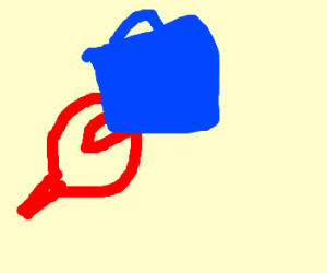 a crab claw pinching a blue handbag