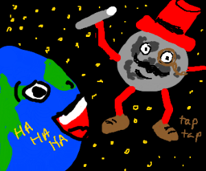 The moon performs for a chuckling Earth