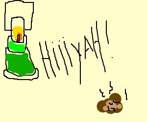 green lantern fights a turd