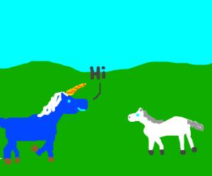 Blue unicorn meets a white Little Pony