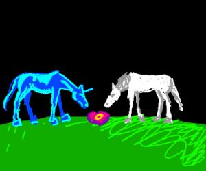 Blue unicorn propositions white horse