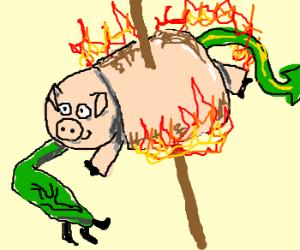 Flaming mutant marshmellow pig