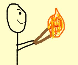 Poorly drawn black man burning sticks