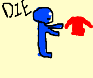 Blue man fighting against his shirt