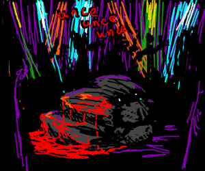 Sad bloody rock at disco rave unce