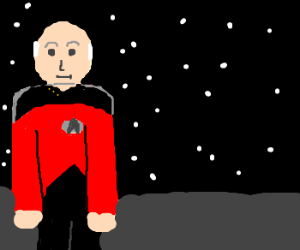 Cpt. Picard turning back to space