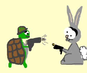 turtle and bunny having gun battle