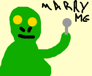 Green alien wants to marry his spoon