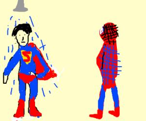 spiderman watches superman shower