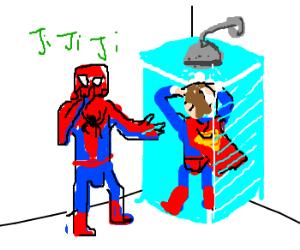 Spiderman walks in on Superman showering