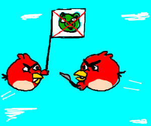 Angry Birds angry at each other. No pigs