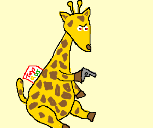 evil toys r' us giraffe with a gun