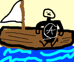 Anarchist is on a boat
