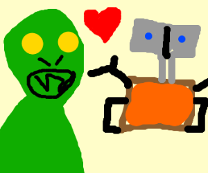 Alien in love with wall-e