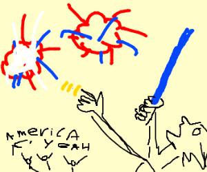 a jedi celebrates the 4th of July
