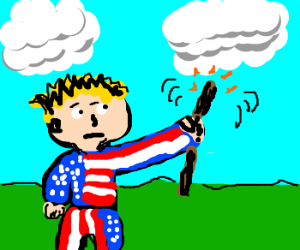 america man waves wand at clouds