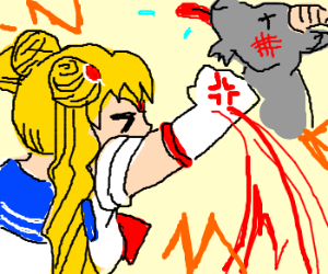 sailor moon punches out goat