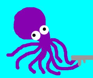 Octopus with a shotgun