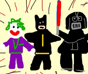 the joker vs batman vs Darth Vader