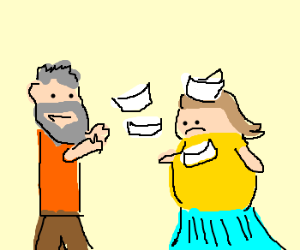 Beared guy throwing papers on fat girl