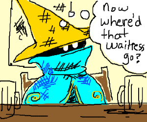 Black mage (Vivi?) at a table...