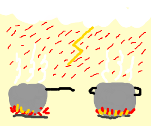 Blood rains down on 2 pots