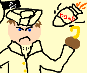 Raging Cpt. Hook about to be bombed.