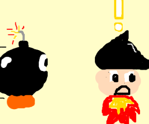 Bob-Omb is about to hit a suprised astro