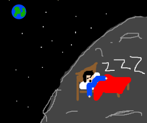 kevin flew his new space bed to the moon