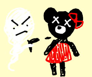 Minnie mouse is shot repeatedly by ghost