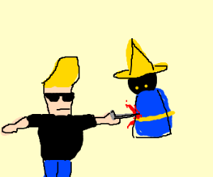 Johnny Bravo stabs final fantasy mage