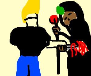 Johnny Bravo stabs a black mage