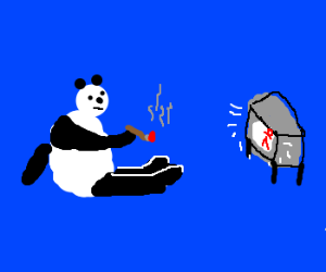 Smoking Panda looks at shrunken TV