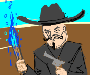 Shady Cowboy has torch with water powers
