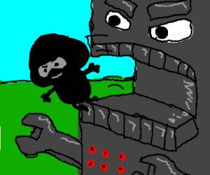 ninja mushroom escapes angry machine