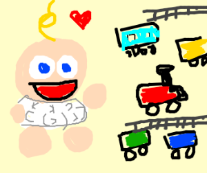 Lumpy child loves train too much