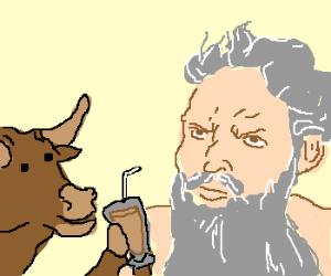 Bull offers milk shake to god