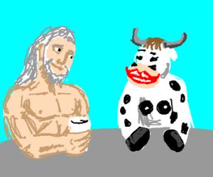 zeus having some milkshake with cow