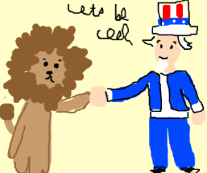 Lion Makes Peace With Unlce